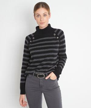 Zwarte en grijze trui van gerecyclede wol en kasjmier Thales