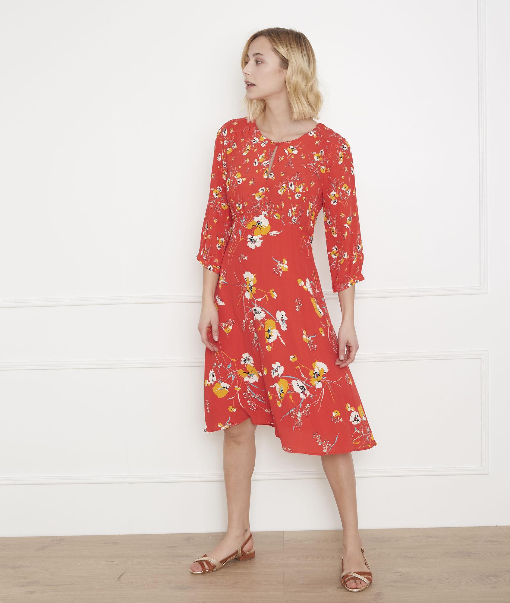 72c687cfcd0 Robe rouge imprimé fleuri Lazur - Maison Cent Vingt-Trois
