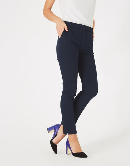Pauline tailored navy blue trousers with buckle (2) - 1-2-3