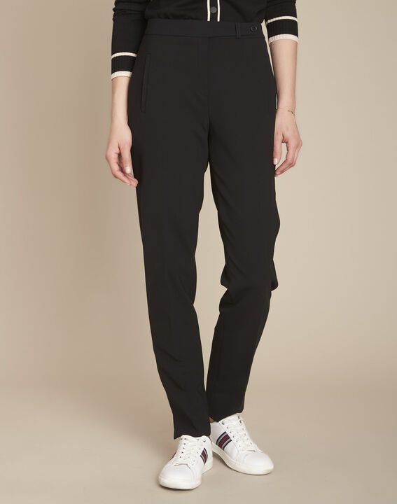 Lara microfibre black slim-cut trousers. PhotoZ | 1-2-3