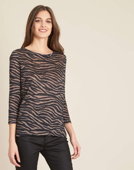 Ebahi linen T-shirt with zebra print and 3/4 length sleeves (3) - 1-2-3