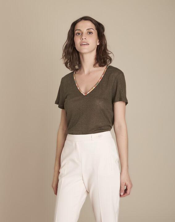 Tee-shirt kaki en lin Capri PhotoZ   1-2-3