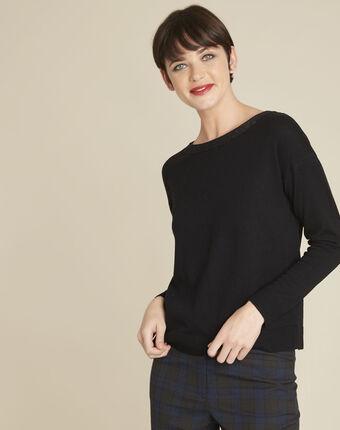 Zwarte trui met decoratieve halslijn van gemengd wol beryl noir.
