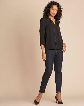 Elea black blouse with romantic neckline black.