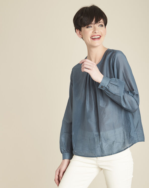 Carlota grey silk and cotton blouse (1) - 1-2-3