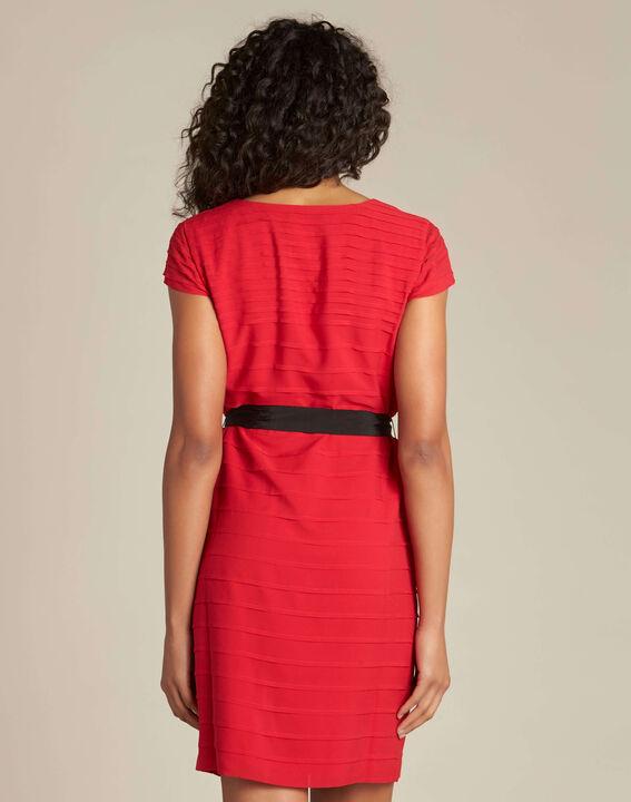 Robe rouge à volants et gros grain Idylle (4) - 1-2-3
