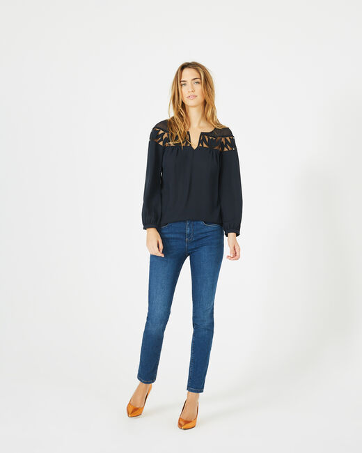 Delcia navy blue blouse with petal detailing (2) - 1-2-3