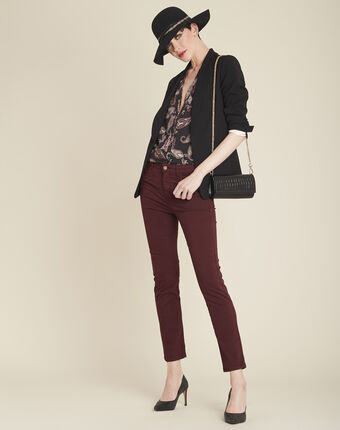 Arletty black printed blouse in cashmere dark red.