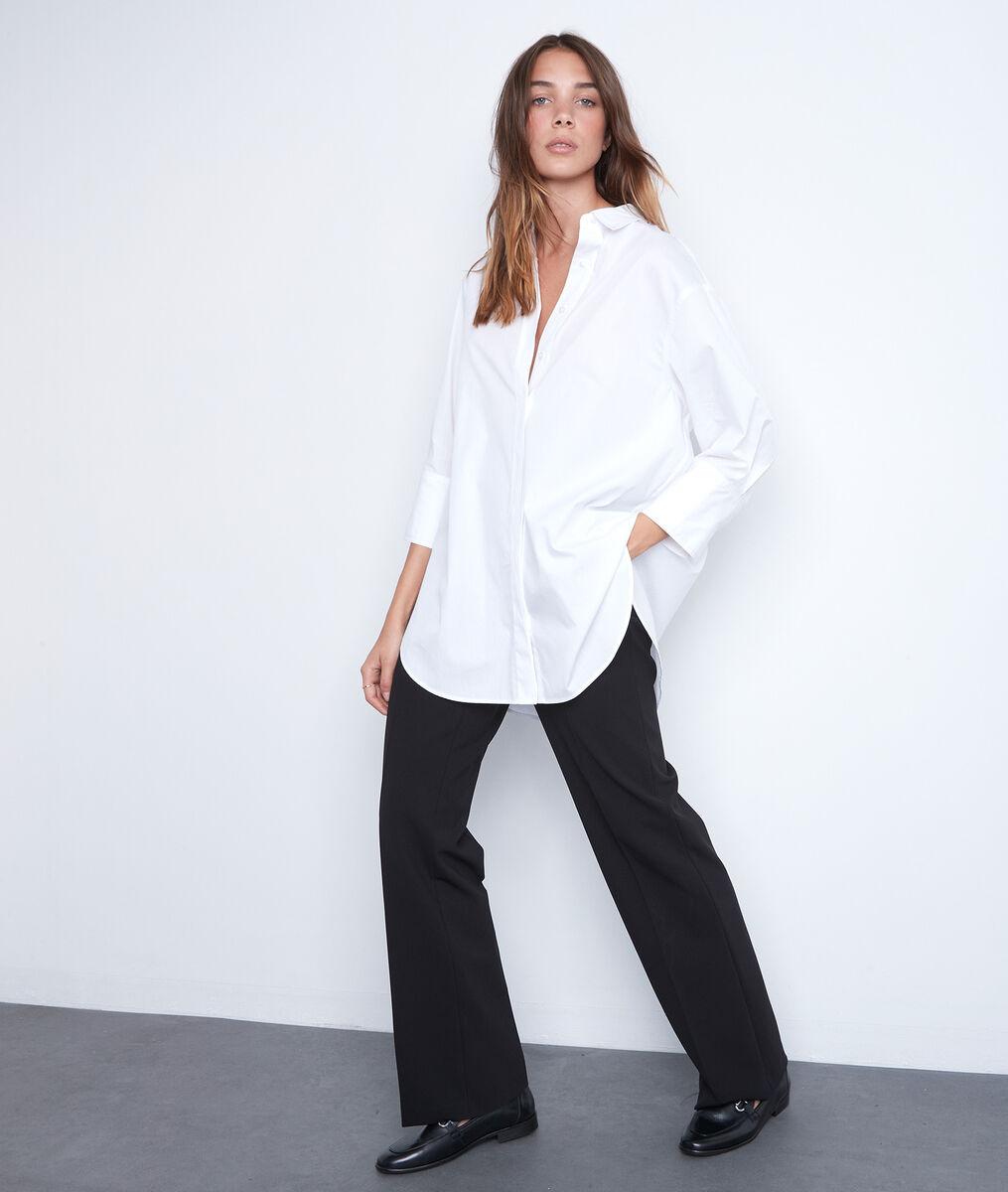Lang en oversized hemd in wit katoen Adoline PhotoZ | 1-2-3
