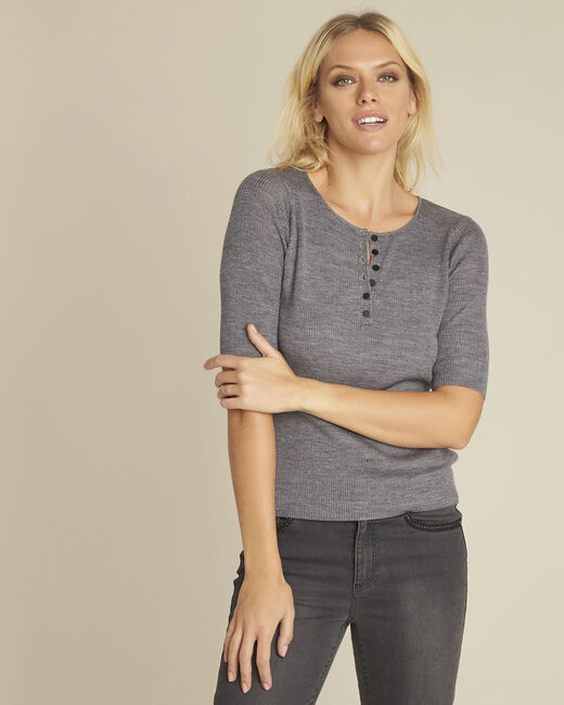 Basso grey wool mix pullover with buttoned neckline (2) - 1-2-3