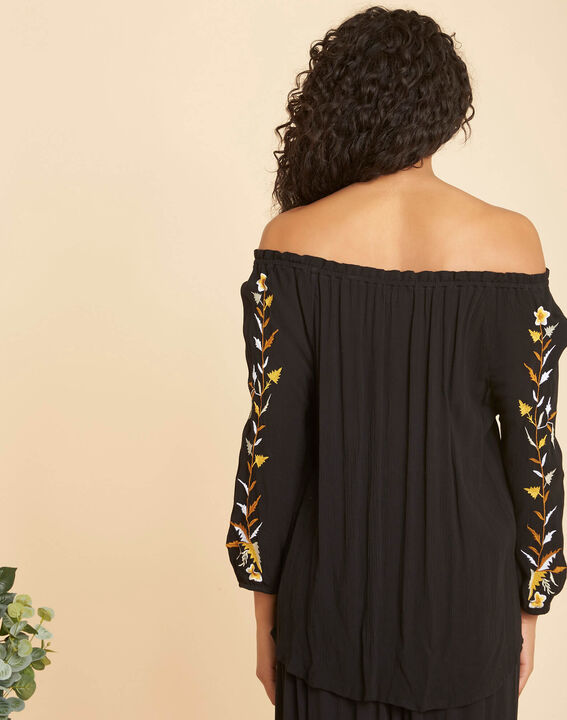 Genevieve black blouse with embroidery (4) - 1-2-3