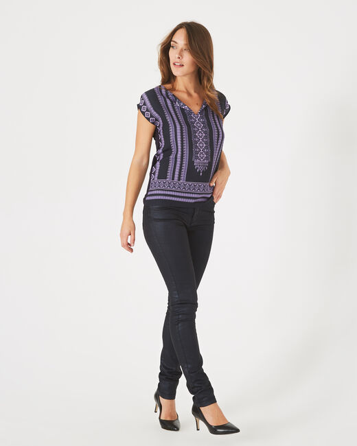 Bayron navy blue T-shirt with ethnic print (1) - 1-2-3