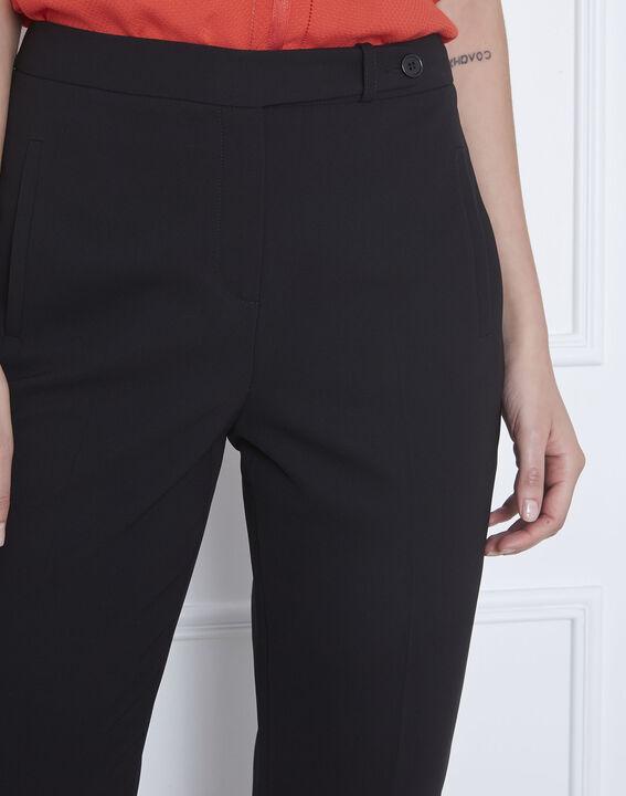Zwarte rechte broek van microvezel met riem met knopen Hugo (4) - Maison 123