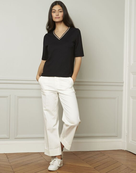 Schwarzes T-Shirt mit V-Ausschnitt Lurex Pluie PhotoZ | 1-2-3