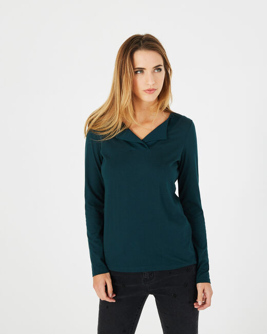 Brume Forest green T-shirt with lapel neckline (2) - 1-2-3