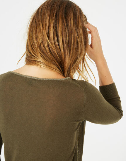 Pétillant khaki sweater with metallic threading (3) - 1-2-3