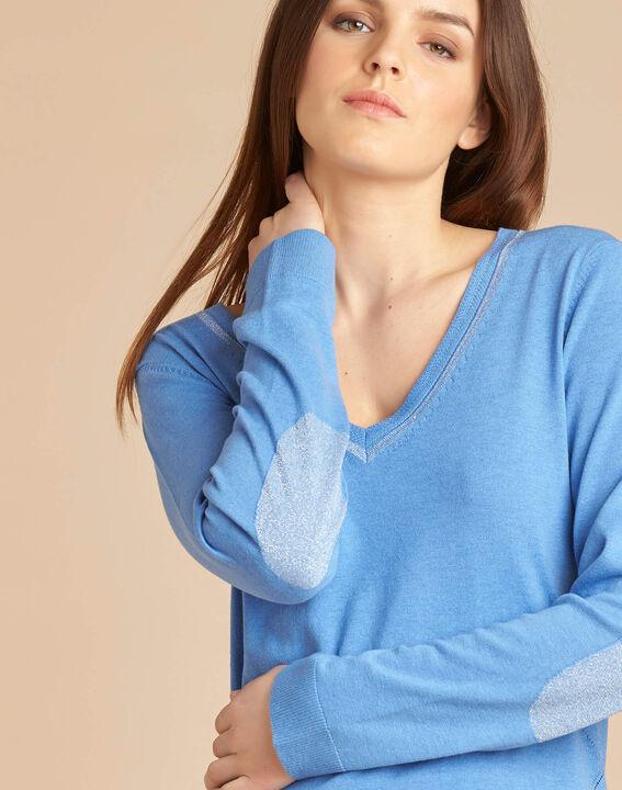 Blauer Pullover mit glänzendem Ausschnitt aus Wolle und Seide Newyork PhotoZ | 1-2-3