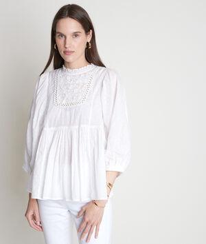 Ecru romantische blouse van katoen met borduurwerk Thelya