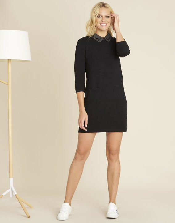 Barbara black knitted dress with decorative collar (2) - 1-2-3