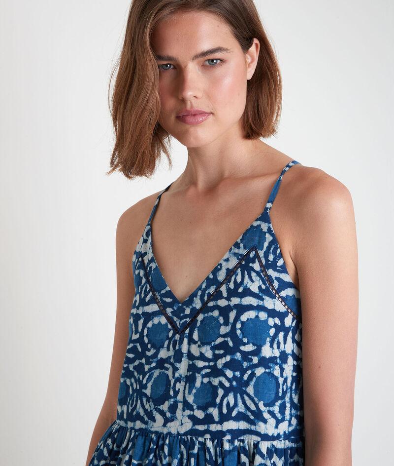 Robe longue à bretelles fines imprimée bleue Safia PhotoZ | 1-2-3