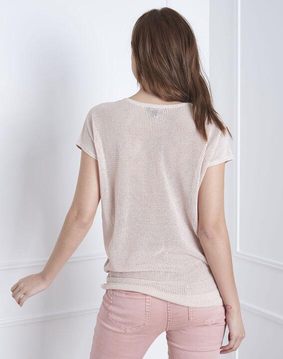 Pull beige encolure V en lurex Amande (4) - Maison 123