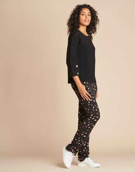 Fantasievoller schwarzer Pullover mit transparenten Streifen Hypnose (3) - 1-2-3