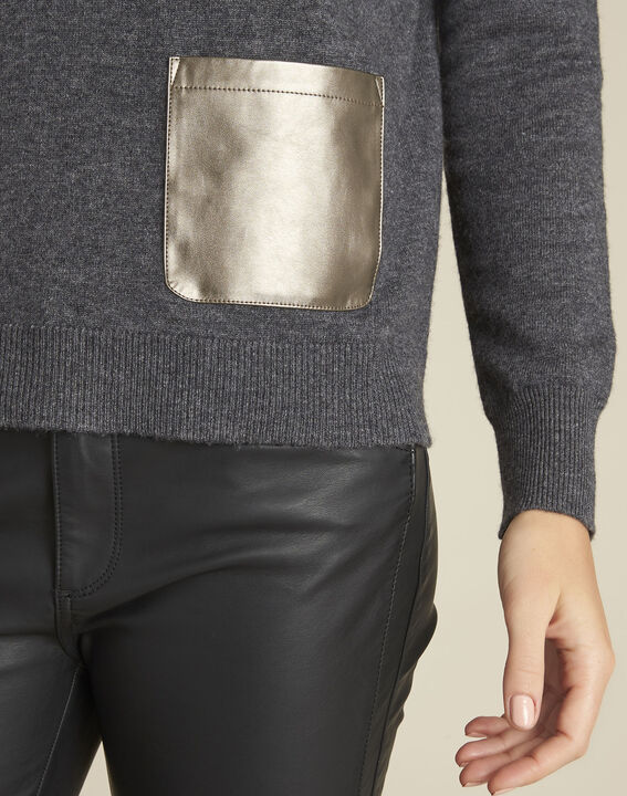 Baltic grey wool cashmere pullover with faux leather pocket (3) - Maison 123