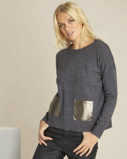 Pull gris laine cachemire poche faux cuir Baltic (1) - 1-2-3