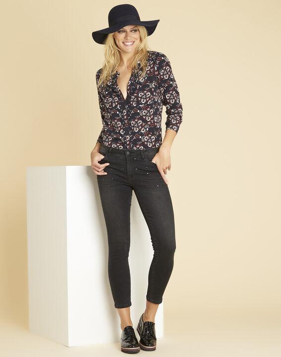 Marineblauwe blouse met print en vetergaten aan de halsopening Clarisse (2) - 37653