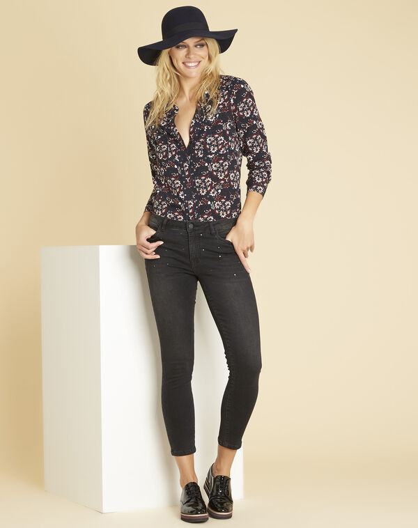 Clarisse navy blue printed blouse with eyelets on the neckline (2) - 1-2-3