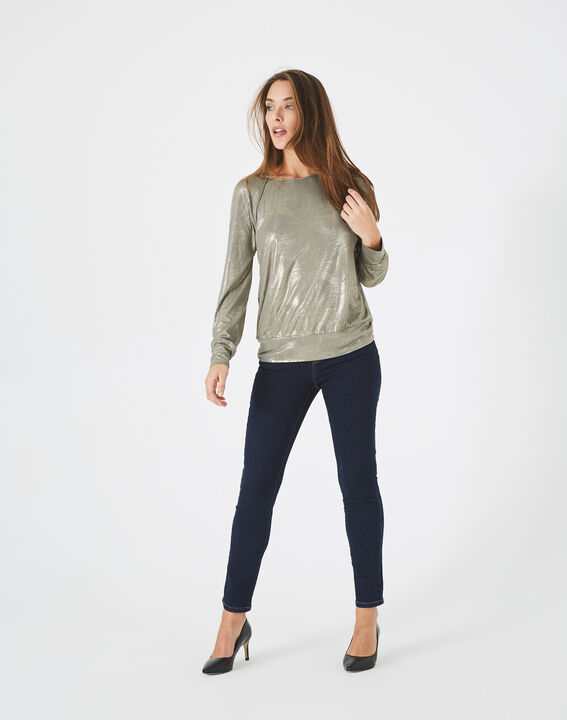 Sweat-shirt kaki imprimé brillant Brindille PhotoZ   1-2-3