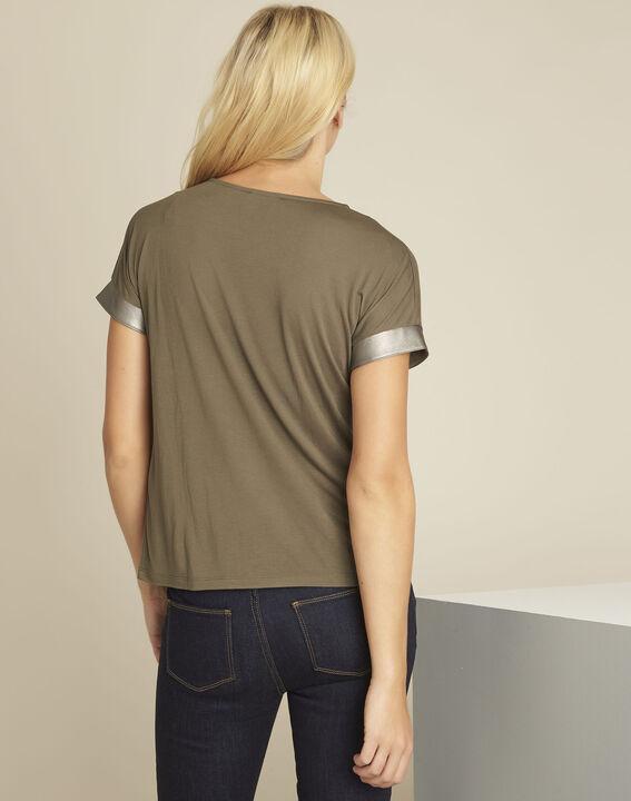 Tee-shirt kaki empiècement faux cuir Gimini (4) - 1-2-3