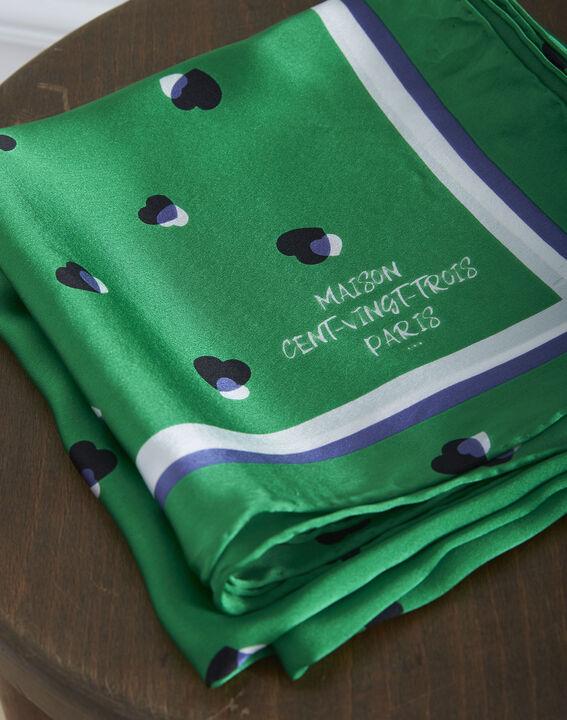 Carré de soie vert imprimé pois Oasis (2) - Maison 123