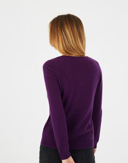 Pivoine blackcurrant V-neck sweater in cashmere (4) - 1-2-3