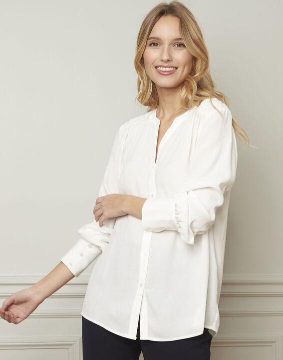 Ecrufarbene Bluse mit V-Ausschnitt aus Viskose Valda PhotoZ | 1-2-3