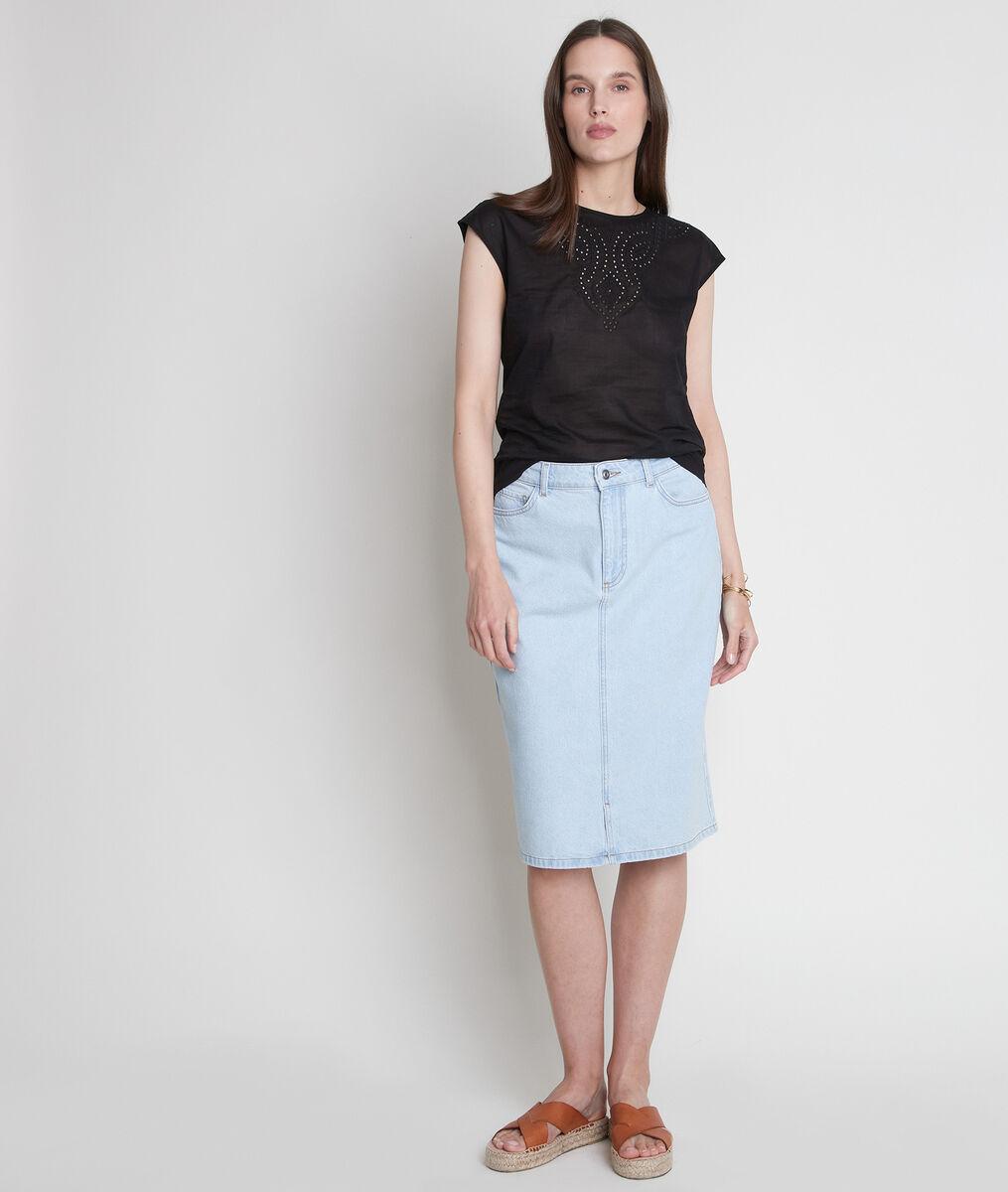 T-shirt bimatière en coton brodé noir Camille  PhotoZ | 1-2-3