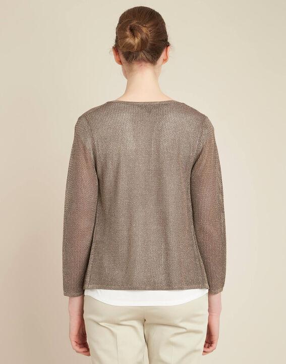 Noisette fine-knit khaki cardigan (4) - 1-2-3