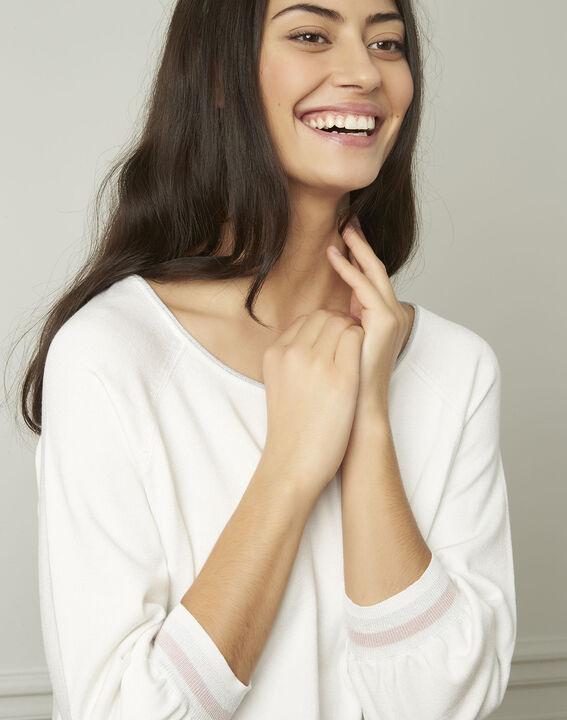 Pull blanc esprit sporty détails lurex Amarante (4) - Maison 123