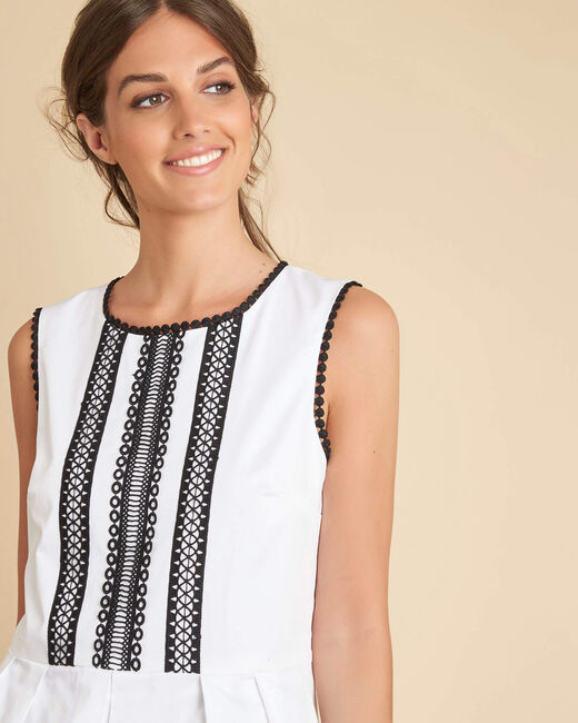 Zwart-witte jurk met fantasiehals Ingrid (2) - 37653