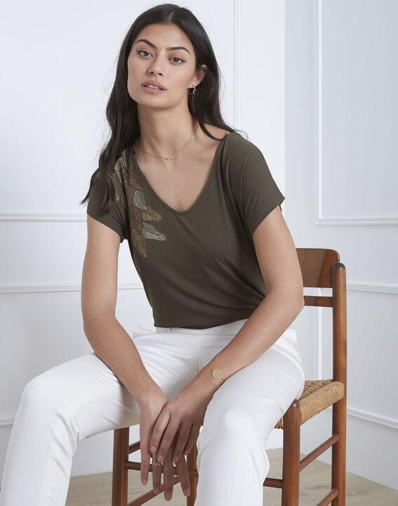 Tee-shirt kaki broderie plume Pandore (1) - Maison 123
