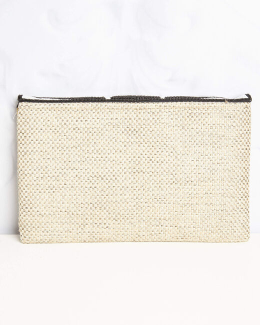 Donatella embroidered straw-effect chain shoulder bag with beading and sequins (2) - 1-2-3