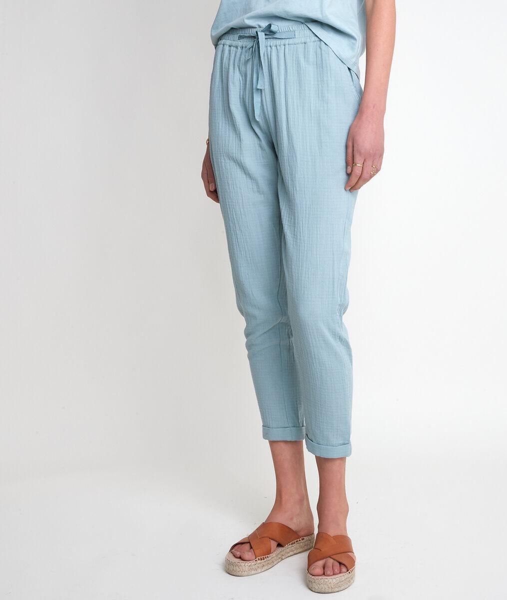 Pantalon en coton cigarette céladon Frahim PhotoZ | 1-2-3