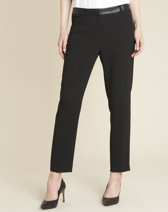 Lara compact black trousers with a leather-effect belt black.