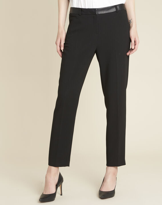 Lara compact black trousers with a leather-effect belt (1) - Maison 123