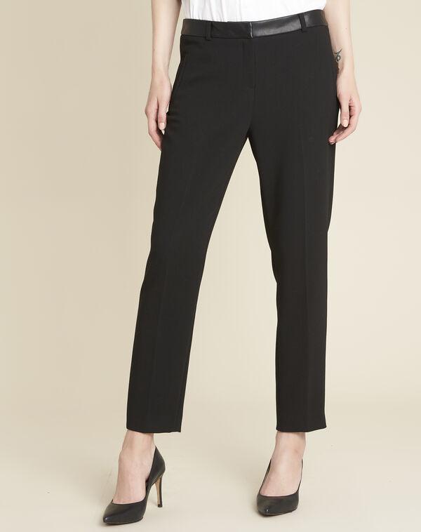 Pantalon noir compact ceinture effet cuir Lara (1) - 1-2-3