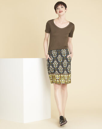Glycel khaki t-shirt with golden threading leaf.