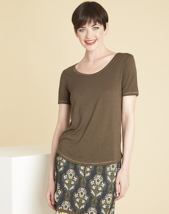 Glycel khaki t-shirt with golden threading leaf.