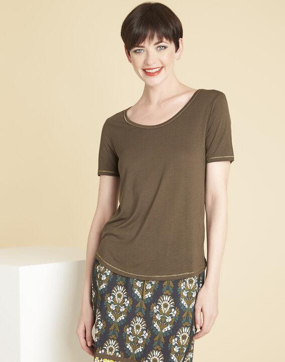 Khakifarbenes T-Shirt mit goldenen Nähten Glycel PhotoZ | 1-2-3