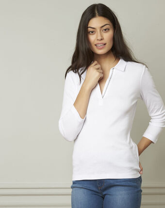 Primerose white lurex t-shirt with v neckline white.