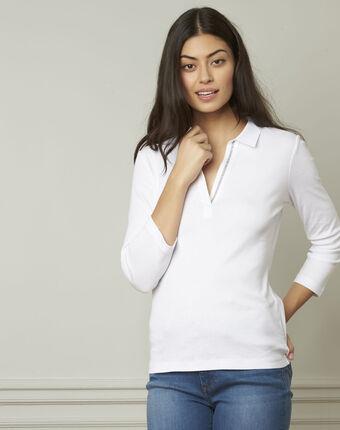 Tee-shirt blanc encolure v en lurex primerose blanc.